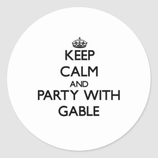 Keep calm and Party with Gable Round Stickers