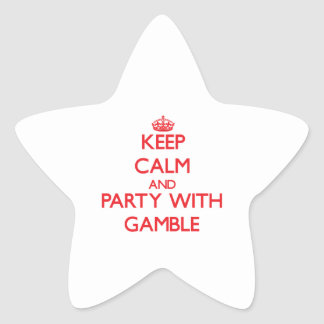 Keep calm and Party with Gamble Star Sticker