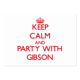 Keep calm and Party with Gibson Business Card Template