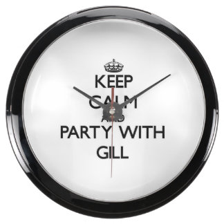 Keep calm and Party with Gill Fish Tank Clocks