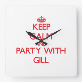 Keep calm and Party with Gill Wall Clocks