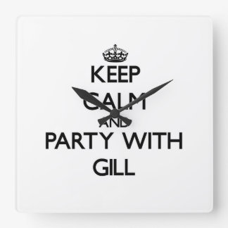 Keep calm and Party with Gill Square Wall Clocks