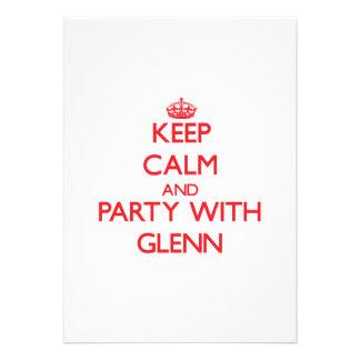 Keep calm and Party with Glenn Custom Invites