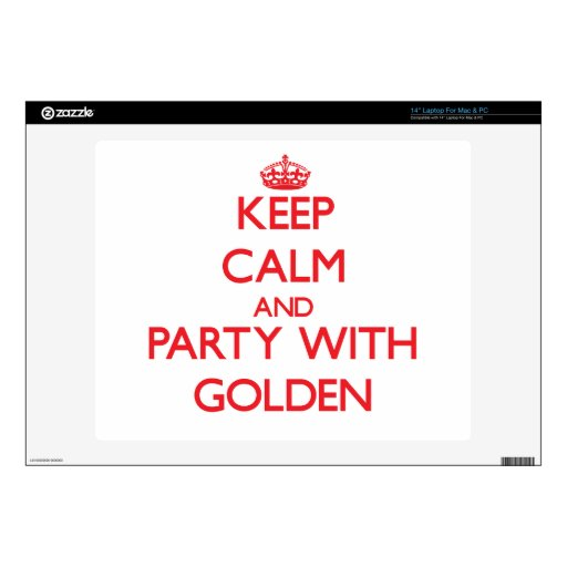 "Keep calm and Party with Golden Decal For 14"" Laptop"