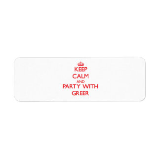 Keep calm and Party with Greer Custom Return Address Labels