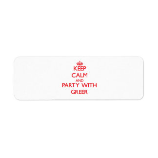 Keep calm and Party with Greer Return Address Label