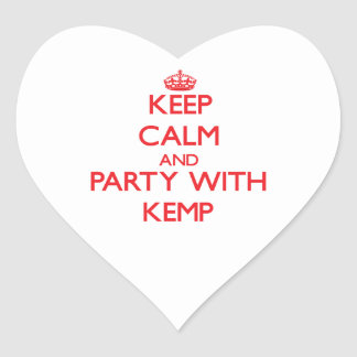 Keep calm and Party with Kemp Heart Sticker