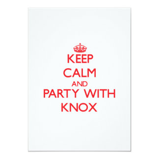 """Keep calm and Party with Knox 5"""" X 7"""" Invitation Card"""