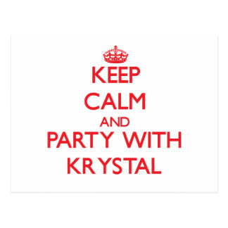 Keep Calm and Party with Krystal Post Cards