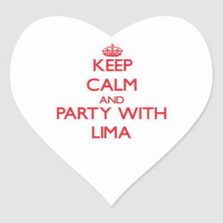Keep calm and Party with Lima Heart Stickers