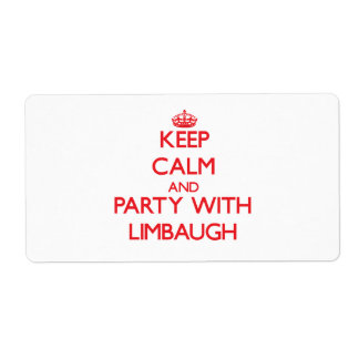 Keep calm and Party with Limbaugh Shipping Label