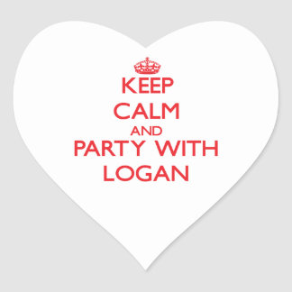 Keep calm and Party with Logan Heart Sticker