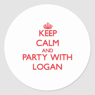 Keep calm and Party with Logan Round Stickers