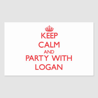 Keep calm and Party with Logan Rectangular Stickers