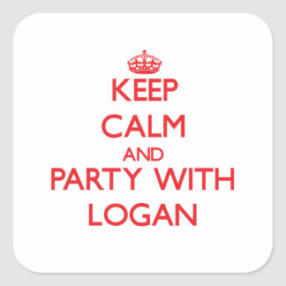 Keep calm and Party with Logan Stickers