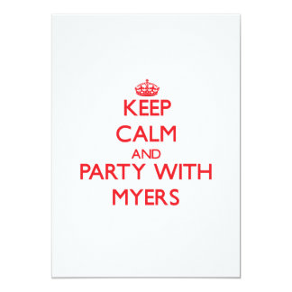 Keep calm and Party with Myers 5x7 Paper Invitation Card