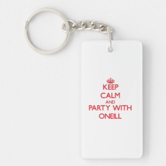 Keep calm and Party with Oneill Double-Sided Rectangular Acrylic Keychain