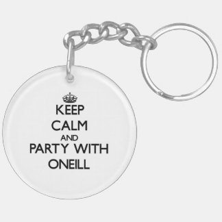 Keep calm and Party with Oneill Double-Sided Round Acrylic Keychain