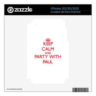 Keep calm and Party with Paul Skins For The iPhone 3G