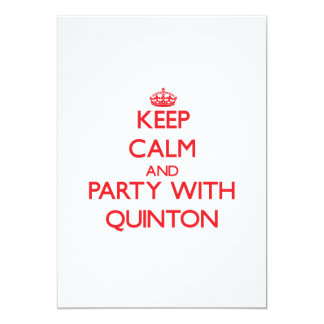 Keep calm and Party with Quinton 5x7 Paper Invitation Card