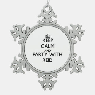 Keep calm and Party with Reid Snowflake Pewter Christmas Ornament