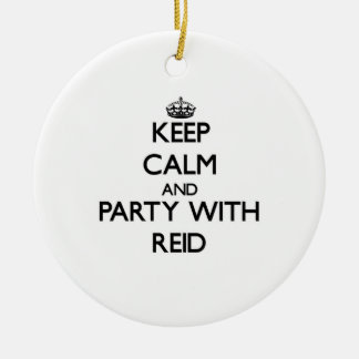 Keep calm and Party with Reid Double-Sided Ceramic Round Christmas Ornament