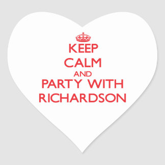 Keep calm and Party with Richardson Heart Sticker