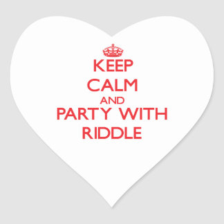 Keep calm and Party with Riddle Heart Sticker