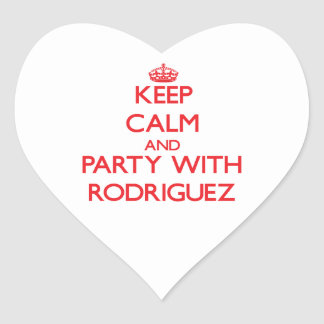 Keep calm and Party with Rodriguez Heart Sticker