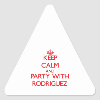Keep calm and Party with Rodriguez Triangle Sticker