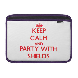 Keep calm and Party with Shields MacBook Sleeves