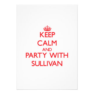 Keep calm and Party with Sullivan Personalized Invitation