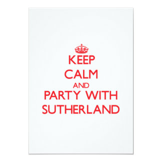 Keep calm and Party with Sutherland Personalized Invitations
