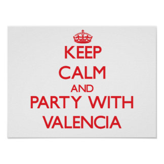 Keep calm and Party with Valencia Poster