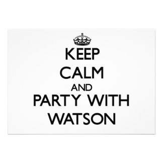 Keep calm and Party with Watson Personalized Invite