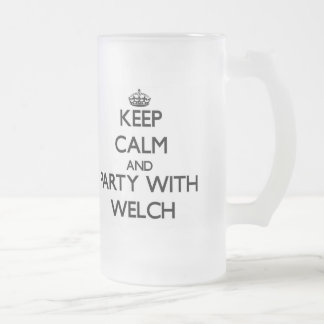Keep calm and Party with Welch Frosted Glass Beer Mug