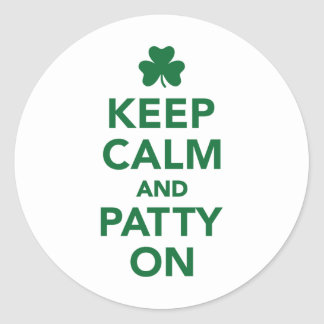 Keep calm and patty on classic round sticker