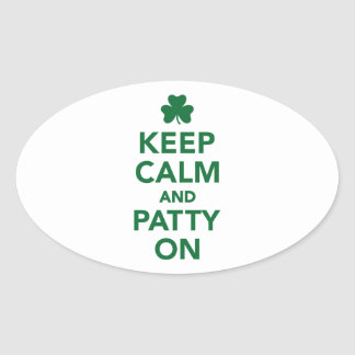 Keep calm and patty on oval sticker