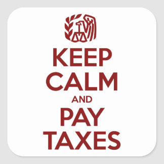 Keep Calm And Pay Taxes Square Sticker