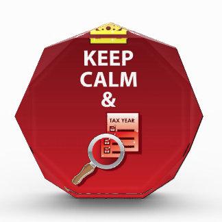 Keep Calm and Pay Your Taxes vector Acrylic Award