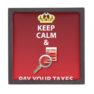 Keep Calm and Pay Your Taxes vector Gift Box