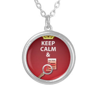 Keep Calm and Pay Your Taxes vector Silver Plated Necklace