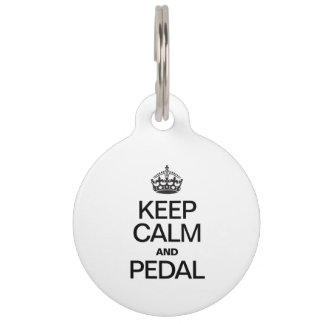 KEEP CALM AND PEDAL PET ID TAG