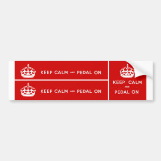 Keep Calm and Pedal On Car Bumper Sticker