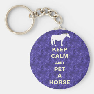 Keep Calm and Pet A Horse Keychain