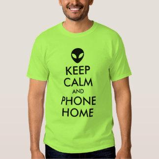 Keep Calm and Phone Home Alien Parody T Shirts