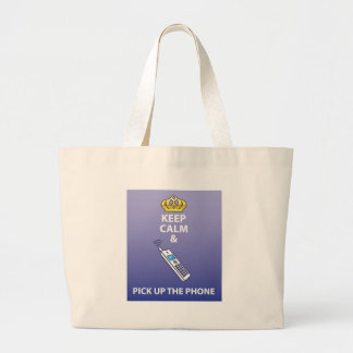Keep Calm and Pick Up the Phone vector Large Tote Bag