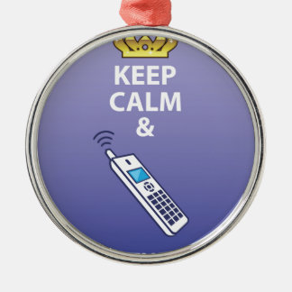 Keep Calm and Pick Up the Phone vector Metal Ornament