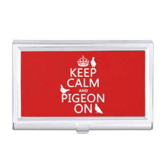 Keep Calm and Pigeon On - all colors Business Card Holder