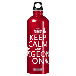 Keep Calm and Pigeon On - all colors Water Bottle